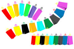 Colored Shopping Bags. Different sets of colored shopping bags in lines Stock Photos