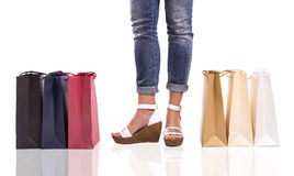 Colored shopping bags Stock Photos