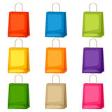 Colored shopping bags templates. Set of promotional gifts and souvenirs Royalty Free Stock Photos