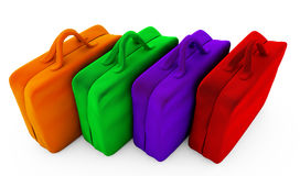 Colored shopping bags,  on white background. 3D renderin Stock Photos