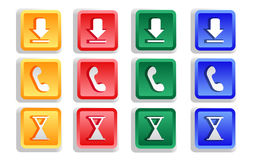 Colored Sign Button Set. Isolated - vector illustration stock illustration
