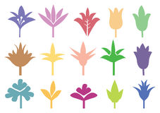 Colored Silhouette of Flowers and Plants Royalty Free Stock Photography