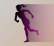 Colored silhouette of a running gir. Run, sport, active people. 10eps Royalty Free Stock Images
