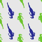 Colored silhouette of a running gir. Run, sport, active people. Seamless pattern. 10eps Stock Image