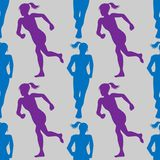 Colored silhouette of a running gir. Run, sport, active people. Seamless pattern. 10eps Royalty Free Stock Images