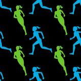 Colored silhouette of a running gir. Run, sport, active people. Seamless pattern. 10eps Royalty Free Stock Photo