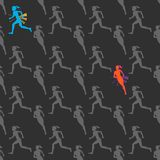 Colored silhouette of a running gir. Run, sport, active people. Seamless pattern. 10eps Royalty Free Stock Photography