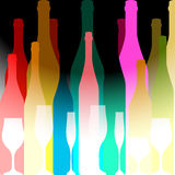 Colored silhouettes of bottles. Cocktail Party Vector.Bar Menu Ilustration.Suitable for Poster.Party Design Menu.Invitation Card with Glasses.Alcoholic Bottles Stock Photos
