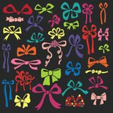 Colored silhouettes of gift bow.Doodle set Royalty Free Stock Photography