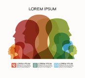 Colored silhouettes of human heads Royalty Free Stock Photos