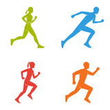Colored silhouettes of runners. Flat  figures marathoner. Royalty Free Stock Photography