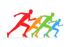Colored silhouettes of runners. Line running symbol. Vector figures athletes running. Vector running and marathon logo Royalty Free Stock Image
