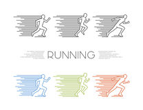 Colored silhouettes of runners Royalty Free Stock Image
