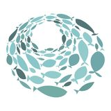 Colored silhouettes school of fish. A group of silhouette fish swim in a circle. Marine life. Vector illustration. Logo. Colored silhouettes school of fish Royalty Free Stock Image