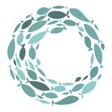 Colored silhouettes school of fish. A group of silhouette fish swim in a circle. Marine life. Vector illustration. Logo. Colored silhouettes school of fish Royalty Free Stock Photo