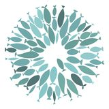 Colored silhouettes school of fish. A group of silhouette fish swim in a circle. Marine life. Vector illustration. Logo. Colored silhouettes school of fish Stock Photos