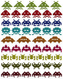 Colored silhouettes of Space Invaders Stock Images