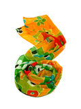 colored silk scarf on white background Stock Photo