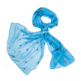 Colored silk scarf on white background. Isolated Stock Photography