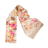 Colored silk scarf on white background. Isolated Stock Image