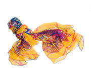 Colored silk scarf on white background. Isolated Royalty Free Stock Image