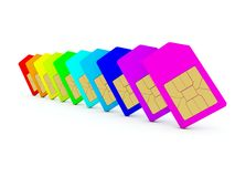 Colored sim card Royalty Free Stock Photo