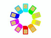 Colored sim cards Stock Images