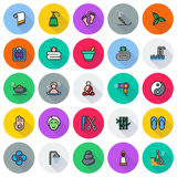 Colored simple web icon set - Spa, Beauty. Vector illustration on white background Royalty Free Stock Photography