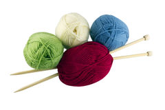 Colored skeins and knitting Stock Images