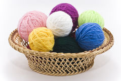 Colored skeins of wool Stock Photography