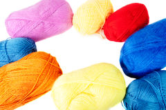 Colored skeins of wool in the form of a round Stock Photos
