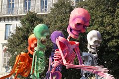 Colored skeletors. Carnival in the city of Nice (French Riviera) in february 2008 Royalty Free Stock Photos