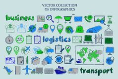 Colored Sketch Delivery Elements Collection. With business logistic and transport management icons isolated vector illustration Royalty Free Stock Photo