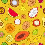 Colored Sketch Exotic Products Seamless Pattern. With natural tropical fruits on yellow background vector illustration Royalty Free Stock Photography