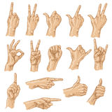 Colored sketch of hand gestures. Stock Image