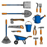 Colored sketch icon of gardening hand tools Stock Photography