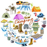 Colored Sketch Outdoor Recreation Round Concept. With camping and hiking elements equipment items accesories horse tourism  vector illustration Stock Images
