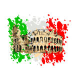 Colored sketch of the Roman Colosseum Royalty Free Stock Image