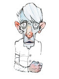 Colored sketch of skinny scary old man.  Royalty Free Stock Image