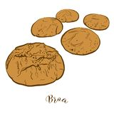 Colored sketches of Broa bread stock illustration