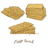 Colored sketches of Crisp bread bread. Vector drawing of Crispy bread food, usually known in Scandinavia. Colored Bread illustration series stock illustration