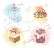 Colored sketches of cupcakes, berry pie and cake. Sketches of scrumptious cupcakes, berry pie and chocolate tiered cake, decorated by butter cream, fresh Royalty Free Stock Photo