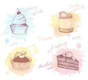 Colored sketches of cupcakes, berry pie and cake. Sketches of scrumptious cupcakes, berry pie and chocolate tiered cake, decorated by butter cream, fresh Royalty Free Stock Photography