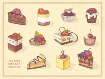 Colored sketches of cupcakes, berry pie and chocolate tiered cake. Sketches of scrumptious cupcakes, berry pie and chocolate tiered cake, decorated by butter Royalty Free Stock Photography