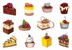 Colored sketches of cupcakes, berry pie and chocolate tiered cake. Sketches of scrumptious cupcakes, berry pie and chocolate tiered cake, decorated by butter Stock Images