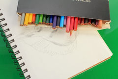 Colored Sketching Pencils Royalty Free Stock Image