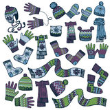 Colored Sketchy.Males knitted clothing accessories Royalty Free Stock Photo