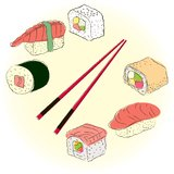 Colored sketchy sushi set Royalty Free Stock Photos