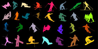 Colored ski silhouette Stock Photos