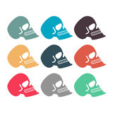 Colored skull set. Multicolored skeleton head. Symbol of death Royalty Free Stock Photo